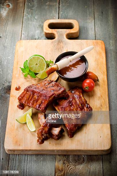 Barbeque Ribs on Cutting Board