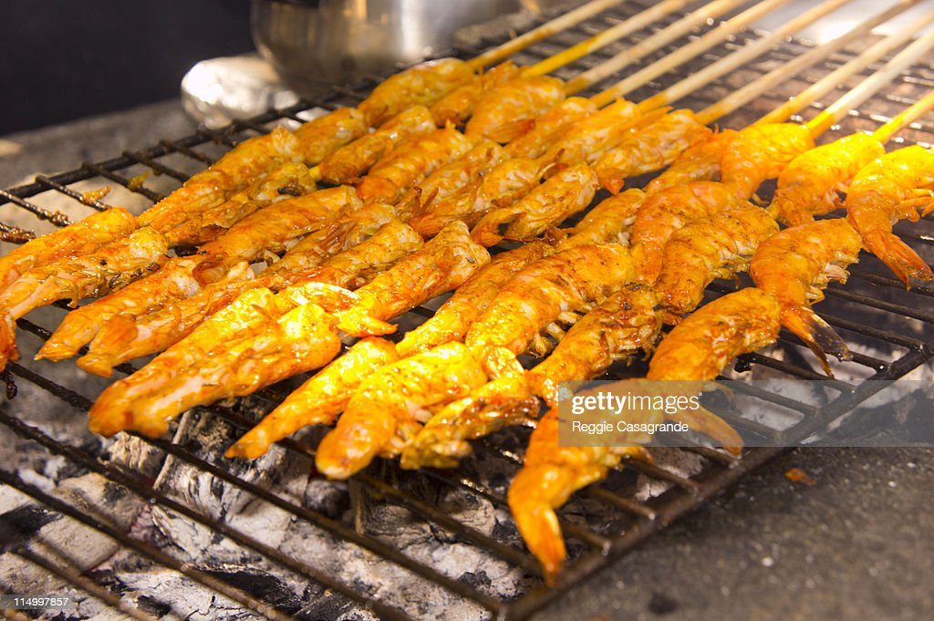 Barbequed shrimp on the skewer : Stock Photo