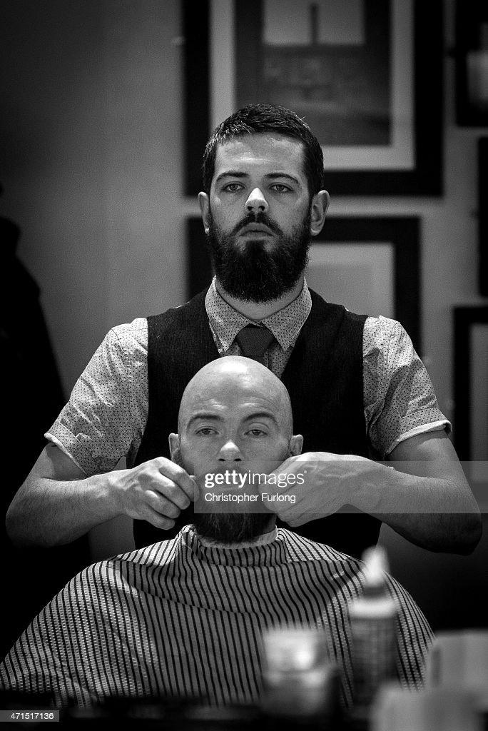 barber barber gentleman 39 s saloon in manchester getty images. Black Bedroom Furniture Sets. Home Design Ideas