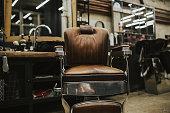 Old vintage chair in barber shop.