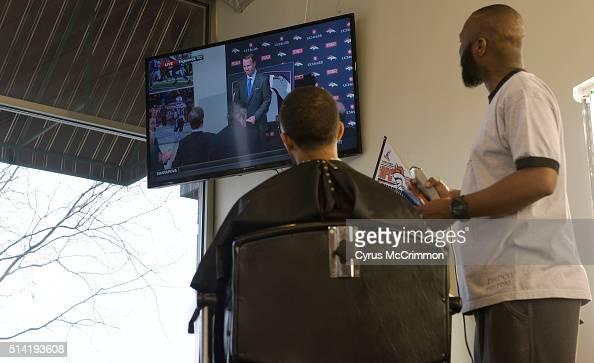 Barber Shop Denver : Ford gives Chris Thatch a haircut at Hollywoods Barber Shop in Denver ...