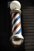 A Barber's pole in the streets of New York City