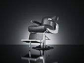 Black barbershop chair isolated dark background. 3d rendering