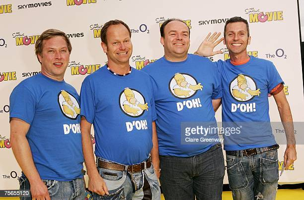 Barbershop Quartet '4 Poofs and a Piano' arrive at the UK premiere of 'The Simpsons Movie' at The O2 Greenwich on July 25 2007 in London England