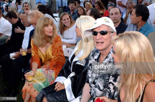 Barbi Benton and Hugh Hefner during Andy Roddick Host 13th Annual ESPY Awards PreParty Inside at Playboy Mansion in Beverly Hills California United...