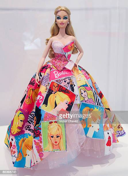Barbie 50th Anniversary doll edition is showcased during the Barbie's 50th Anniversary Exhibition at Museo Franz Mayer on March 9 2009 in Mexico City