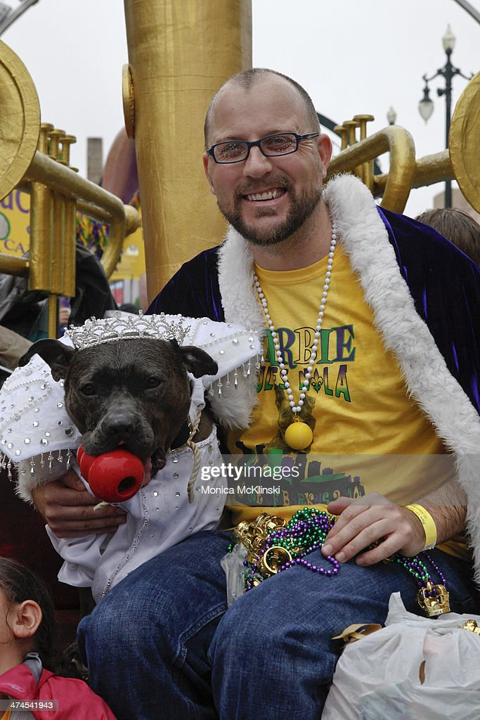 Barbie, a resuce pit bull, reigns as Queen of Barkus XXII. The Mystic Krewe of Barkus, a non-profit organization that supports animal welfare groups on February 23, 2014 in New Orleans, Louisiana. DOGZILLA - Barkus Licks the Crescent City was the theme of the 22nd Mystic Krewe of Barkus Parade.