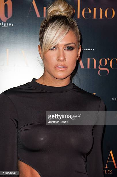 Barbie Blank arrives at the 2016 City Gala Fundraiser at The Playboy Mansion on February 15 2016 in Los Angeles California