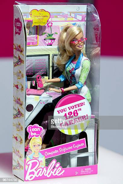 A Barbie computer software engineer career doll made by Mattel Inc is displayed at Toy Fair 2010 in New York US on Sunday Feb 14 2010 The trade show...