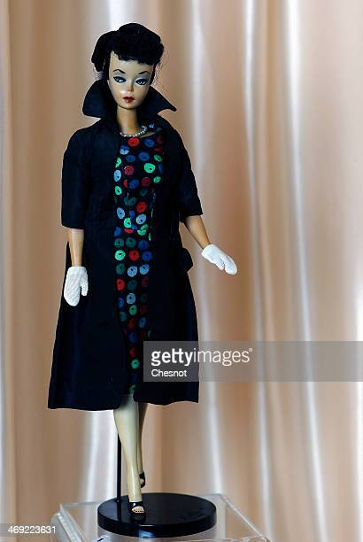 Barbie doll created in 1959 is displayed during the exhibition 'Barbie retro chic' at the 'Musee de la poupee' on February 13 in Paris France The...