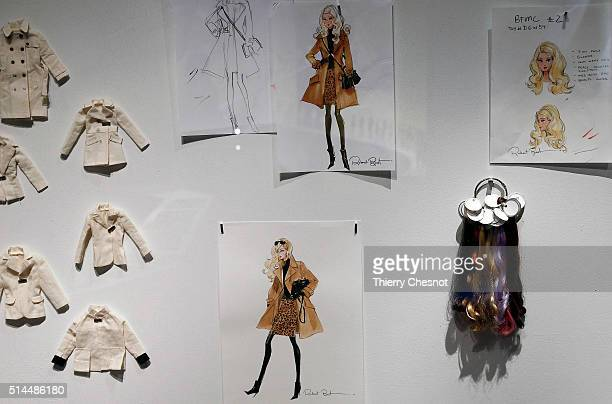 Barbie doll drawings are displayed during the exhibition 'Barbie life of an icon' at the Museum of Decorative Arts as part of the Paris Fashion Week...