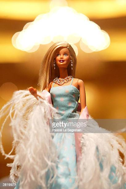 Barbie doll dressed in 'Fred Paris' on display at the Georges V Hotel December 18 2003 in Paris FranceTop jewellers get together to dress up a...