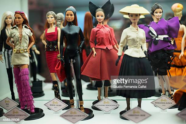 Barbie Dolls are displayed in the Barbie Experience during Sao Paulo Fashion Week Winter 2015 at Porao das Artes on November 3 2014 in Sao Paulo...