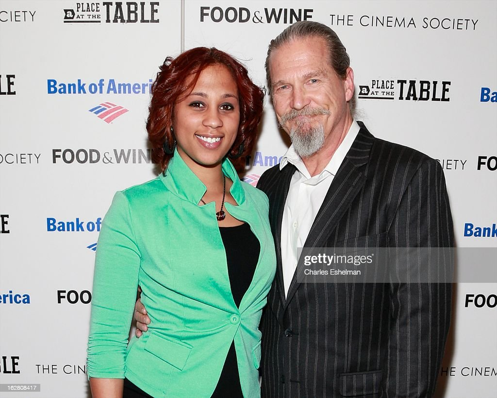 Barbie Izquierdo and actor Jeff Bridges arrive at Bank of America and Food & Wine with The Cinema Society present a screening of 'A Place at the Table' at the Celeste Bartos Theater at the Museum of Modern Art on February 27, 2013 in New York City.