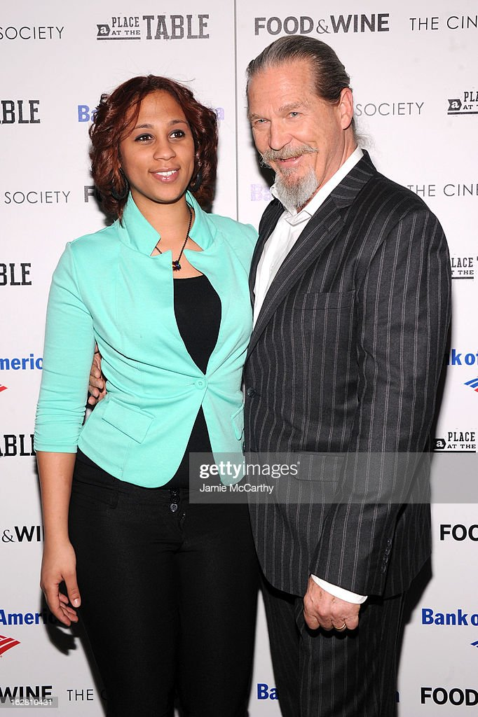 Barbie Izquierdo and Jeff Bridges attend the Bank of America and Food & Wine with The Cinema Society screening of 'A Place at the Table' at Museum of Modern Art on February 27, 2013 in New York City.