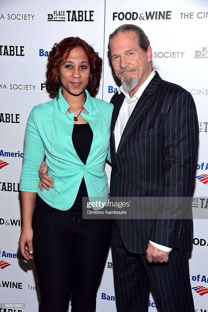 Barbie Izquierdo and Jeff Bridges attend the Bank of America and Food Wine with The Cinema Society screening of 'A Place at the Table' at Museum of...