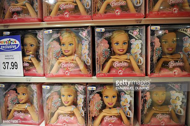 Barbie's heads stand for sale at a toy store in New York February 3 2009 Mattel the world's largest toymaker reported fourthquarter earnings that...