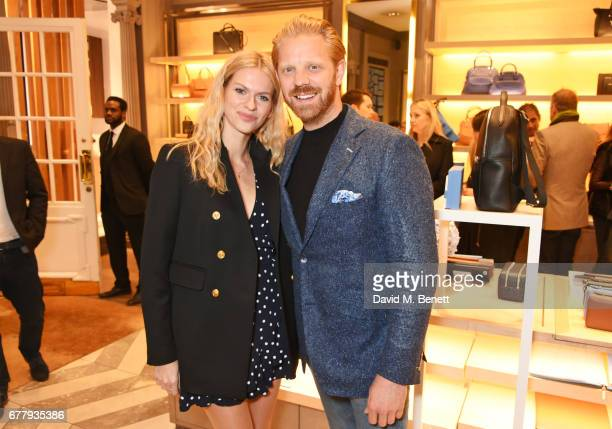 Barbora Bediova and Alistair Guy attend a private view of Smythson and The Queen Elizabeth Scholarship Trust's exhibition 'Crafted For Life' as part...