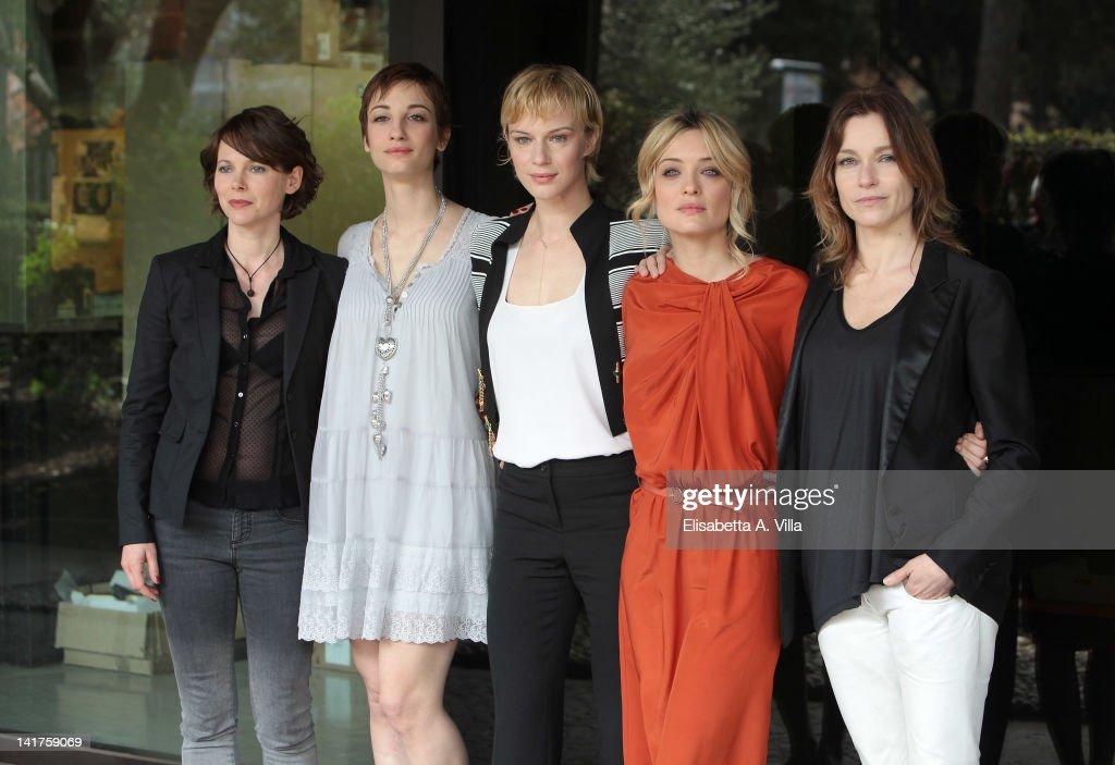 Barbora Bobulova Francesca Inaudi Antonia Liskova Carolina Crescentini and Stefania Rocca attend a photocall for TV series 'Mai Per Amore' at Rai...
