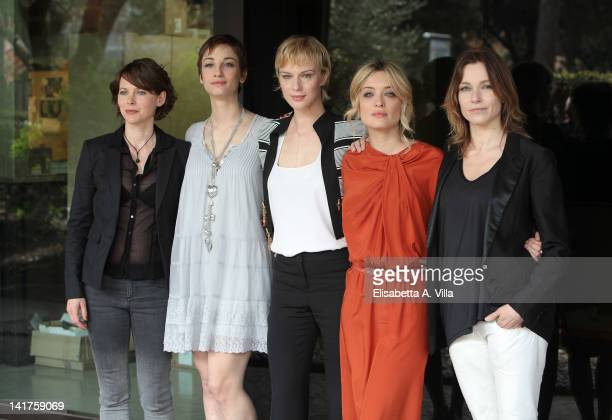 Barbora Bobulova Francesca Inaudi Antonia Liskova Carolina Crescentini and Stefania Rocca attend a photocall for TV series 'Mai Per Amore' at Rai...