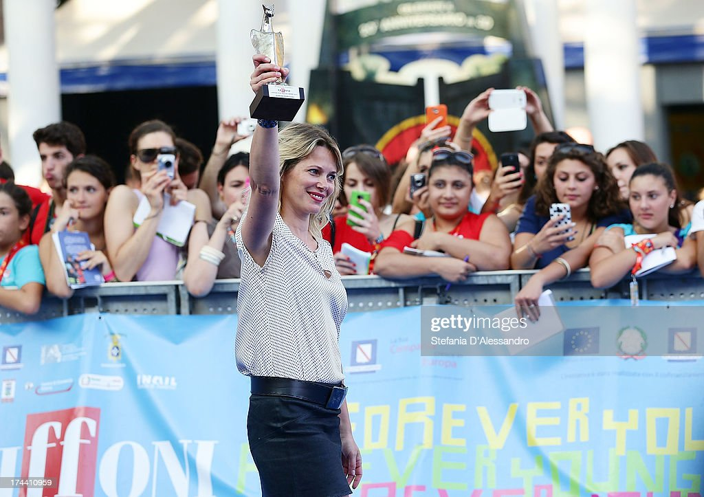 <a gi-track='captionPersonalityLinkClicked' href=/galleries/search?phrase=Barbora+Bobulova&family=editorial&specificpeople=226798 ng-click='$event.stopPropagation()'>Barbora Bobulova</a> poses with the Giffoni Award during 2013 Giffoni Film Festival photocall on July 25, 2013 in Giffoni Valle Piana, Italy.