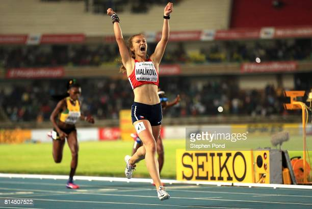 Barbora Malikova of The Czech Republic celebrates after winning gold in the final of the girls 400m on day three of the IAAF U18 World Championships...