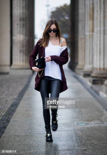 Barbora Ondrackova wearing white tshirt Topshop black Balenciaga leggings a bordeaux Topshop cardigan Dior bralette black Gucci bag Balenciaga boots...