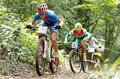 Barbora Prudkova of Czech competes in the Men's Team Event Cross country on day four of Nanjing 2014 Summer Youth Olympic Games at Laoshan Mountain...