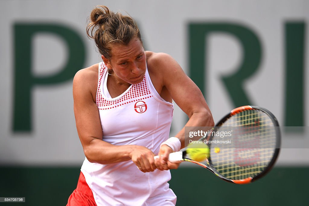 Barbora Strycova of Czech Republic hits a backhand during the Ladies Singles third round match against Agnieszka Radwanska of Poland on day six of the 2016 French Open at Roland Garros on May 27, 2016 in Paris, France.