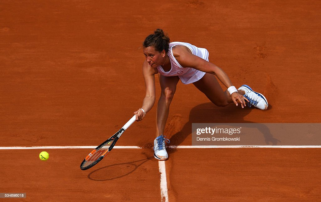 Barbora Strycova of Czech Republic hits a forehand during the Ladies Singles third round match against Agnieszka Radwanska of Poland on day six of the 2016 French Open at Roland Garros on May 27, 2016 in Paris, France.