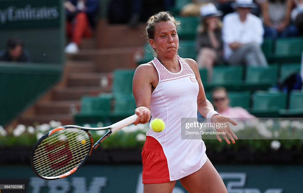 <a gi-track='captionPersonalityLinkClicked' href=/galleries/search?phrase=Barbora+Strycova&family=editorial&specificpeople=642980 ng-click='$event.stopPropagation()'>Barbora Strycova</a> of Czech Republic hits a forehand during the Ladies Singles third round match against Agnieszka Radwanska of Poland on day six of the 2016 French Open at Roland Garros on May 27, 2016 in Paris, France.