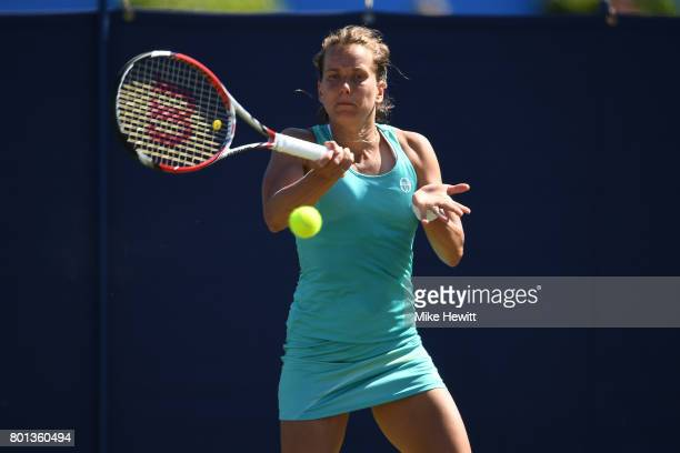 Barbora Strycova of Czech Republic in action against Eugenie Bouchard of Canada on Day 2 of the Aegon International Eastbourne at Devonshire Park on...