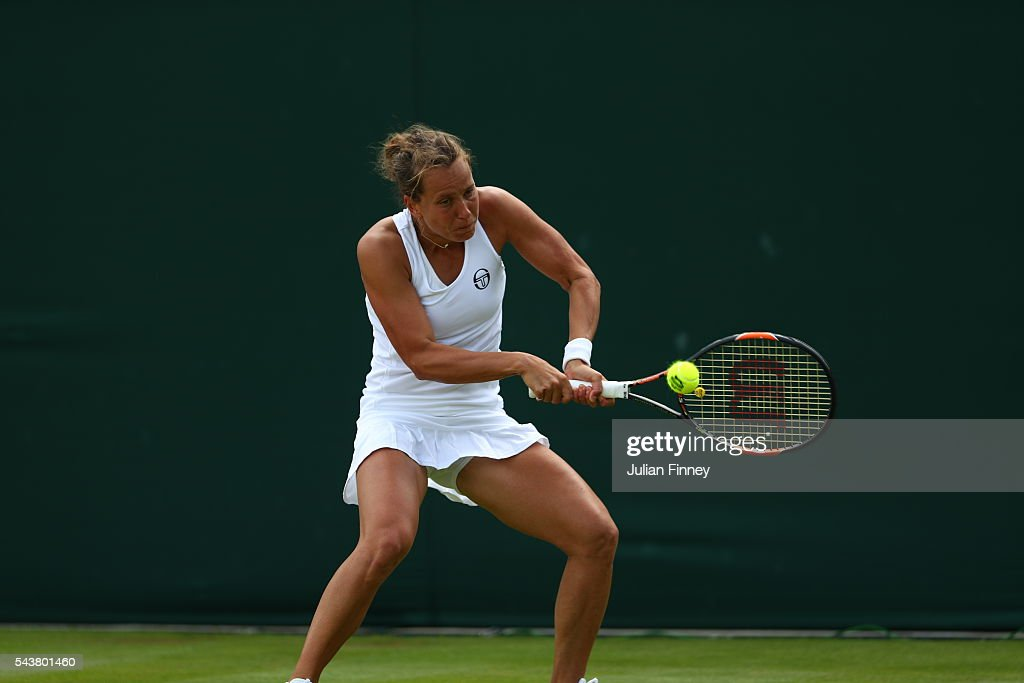 <a gi-track='captionPersonalityLinkClicked' href=/galleries/search?phrase=Barbora+Strycova&family=editorial&specificpeople=642980 ng-click='$event.stopPropagation()'>Barbora Strycova</a> of Czech Republic plays a backhand during the Ladies Singles first round match against Anett Kontaveit of Estonia on day four of the Wimbledon Lawn Tennis Championships at the All England Lawn Tennis and Croquet Club on June 30, 2016 in London, England.
