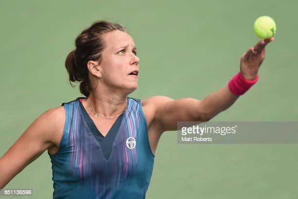 Barbora Strycova of Czech Republic plays a forehand in her quarter final match against Anastasia Pavlyuchenkova of Russia during day five of the...