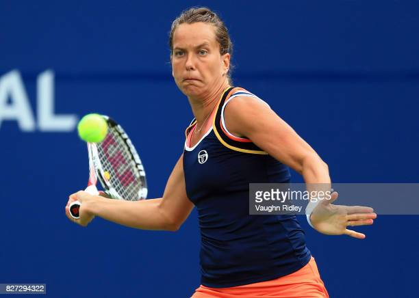Barbora Strycova of Czech Republic plays a shot against Kristina Mladenovic of France during Day 3 of the Rogers Cup at Aviva Centre on August 7 2017...