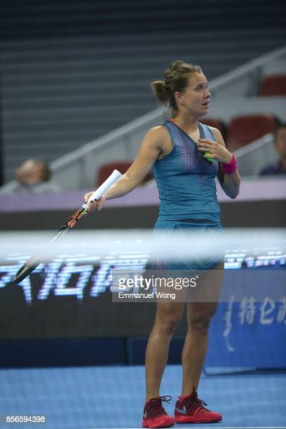 Barbora Strycova of Czech Republic reacts during her match against Garbine Muguruza of Spain on day three of the 2017 China Open at the China...