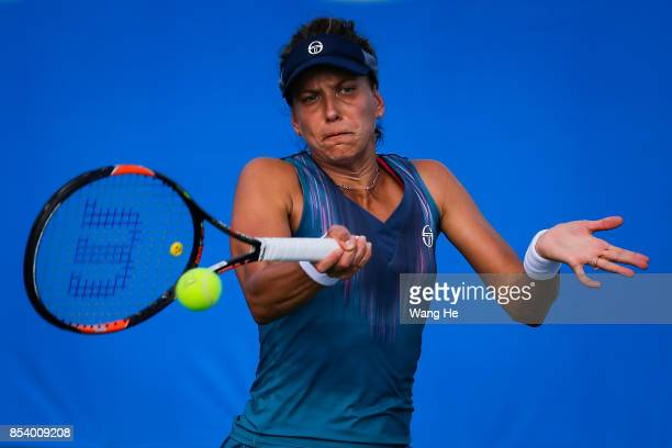 Barbora Strycova of Czech Republic returns a shot during the match against Jelena Ostapenko of Latvia on Day 3 of 2017 Dongfeng Motor Wuhan Open at...