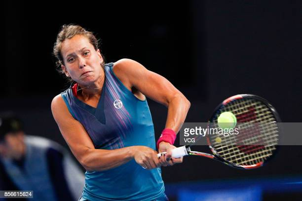 Barbora Strycova of Czech Republic returns a shot during the Women's singles first round match against Garbine Muguruza of Spain on day three of 2017...