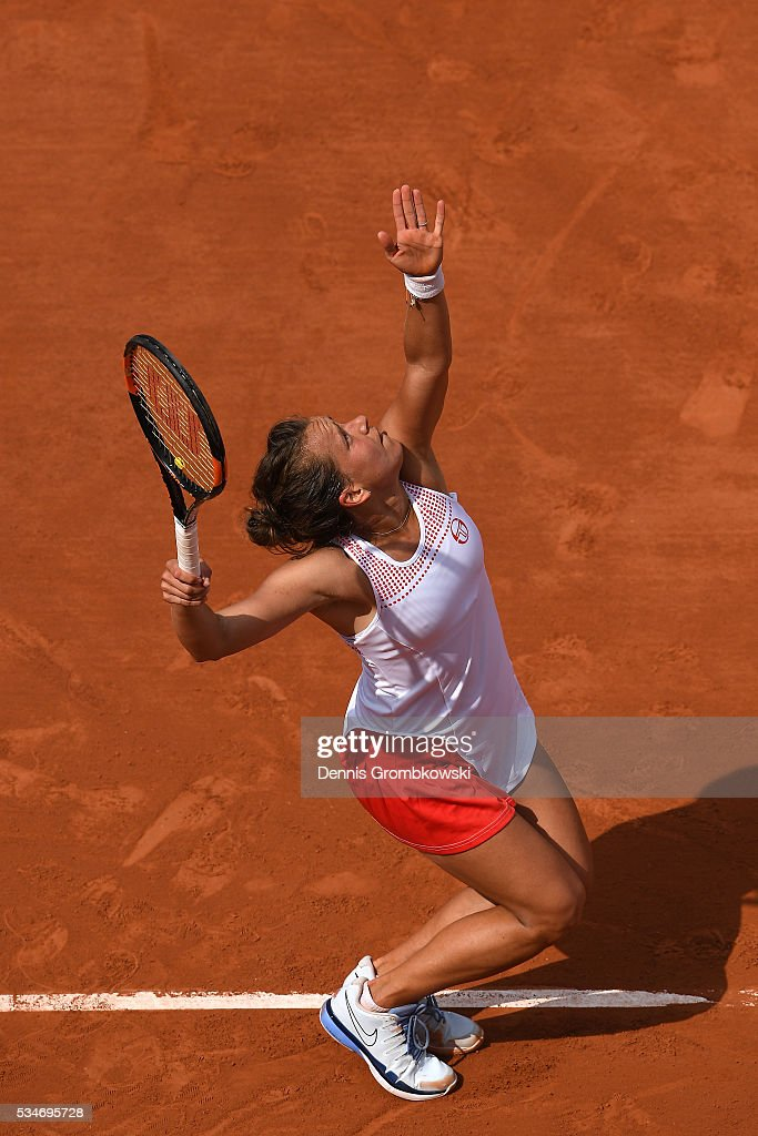 Barbora Strycova of Czech Republic serves during the Ladies Singles third round match against Agnieszka Radwanska of Poland on day six of the 2016 French Open at Roland Garros on May 27, 2016 in Paris, France.