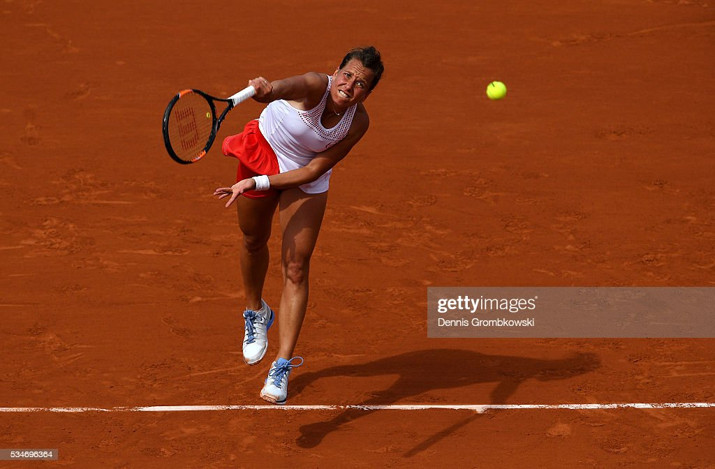 <a gi-track='captionPersonalityLinkClicked' href=/galleries/search?phrase=Barbora+Strycova&family=editorial&specificpeople=642980 ng-click='$event.stopPropagation()'>Barbora Strycova</a> of Czech Republic serves during the Ladies Singles third round match against Agnieszka Radwanska of Poland on day six of the 2016 French Open at Roland Garros on May 27, 2016 in Paris, France.