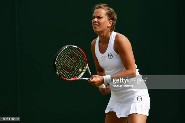Barbora Strycova of the Czech Republic awaits a serve during the Ladies Singles first round match against Veronica Cepede Royg of Paraguay on day one...
