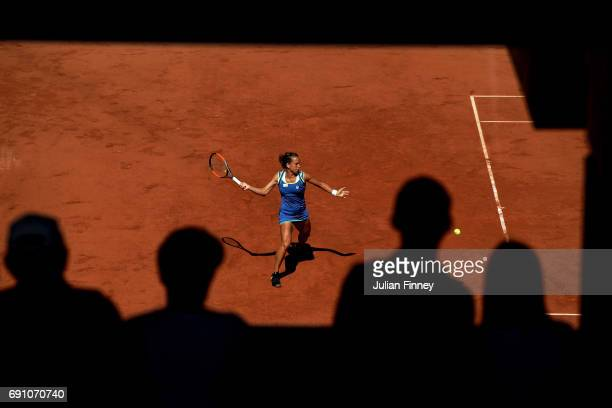 Barbora Strycova of the Czech Republic hits a forehand during the ladies singles second round match against Alize Cornet of France on day five of the...