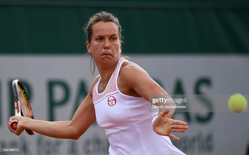 <a gi-track='captionPersonalityLinkClicked' href=/galleries/search?phrase=Barbora+Strycova&family=editorial&specificpeople=642980 ng-click='$event.stopPropagation()'>Barbora Strycova</a> of the Czech Republic plays a forehand during the Women's Singles second round match against Polona Hercog of Slovenia on day four of the 2016 French Open at Roland Garros on May 25, 2016 in Paris, France.