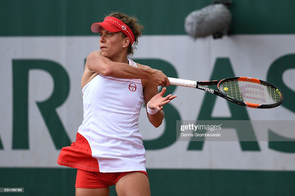 Barbora Strycova of the Czech Republic plays a forehand during the Women's Singles second round match against Polona Hercog of Slovenia on day four of the 2016 French Open at Roland Garros on May 25, 2016 in Paris, France.