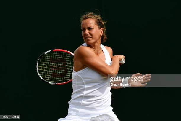 Barbora Strycova of the Czech Republic plays a forehand during the Ladies Singles first round match against Veronica Cepede Royg of Paraguay on day...