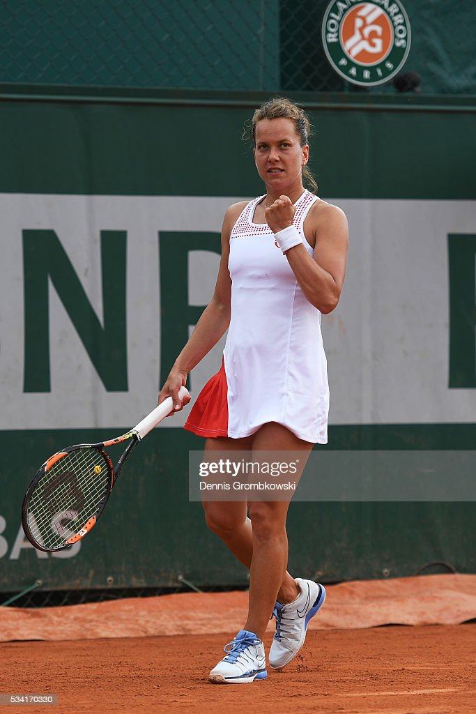 Barbora Strycova of the Czech Republic reacts during the Women's Singles second round match against Polona Hercog of Slovenia on day four of the 2016 French Open at Roland Garros on May 25, 2016 in Paris, France.