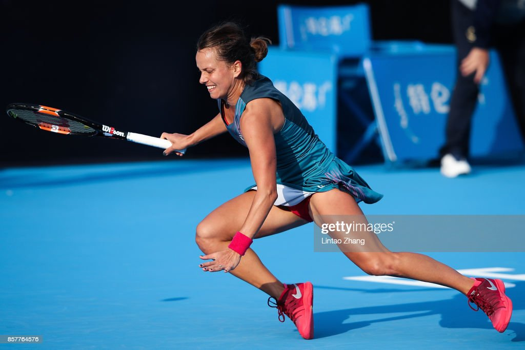 Barbora Strycova of the Czech Republic slips and falls during against Daria Gavrilova of Australia during the Women's singles 3rd round on day six of 2017 China Open at the China National Tennis Centre on October 5, 2017 in Beijing, China.
