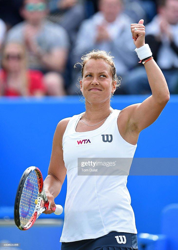 Barbora Zahlavova Strycova of Czech Republic celebrates her win against Casey Dellacqua of Australia on day six of the Aegon Classic at Edgbaston Priory Club on June 13, 2014 in Birmingham, England.