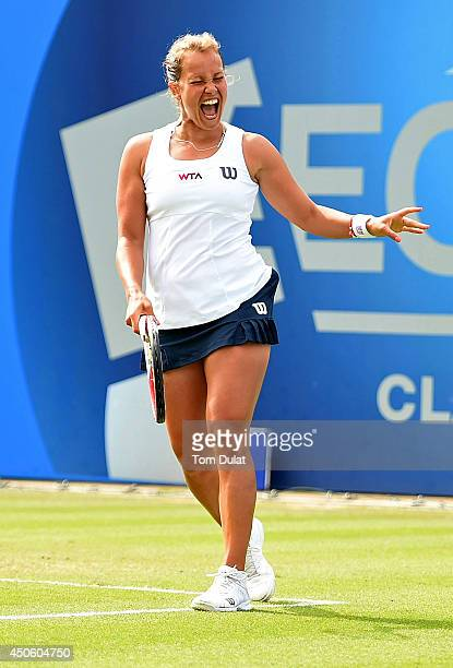 Barbora Zahlavova Strycova of Czech Republic celebrates her win against Casey Dellacqua of Australia on day six of the Aegon Classic at Edgbaston...