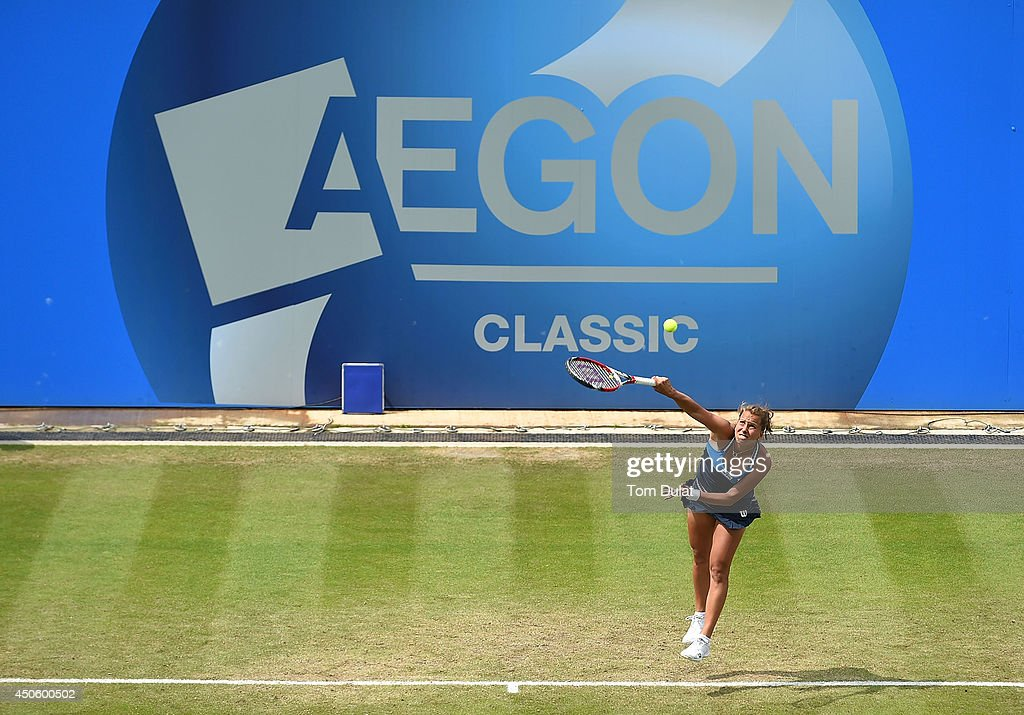 Barbora Zahlavova Strycova of Czech Republic in action against Casey Dellacqua of Australia on day six of the Aegon Classic at Edgbaston Priory Club on June 13, 2014 in Birmingham, England.